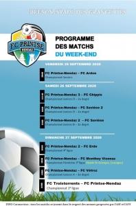 Le programme des matchs du week-end aux Grangettes...