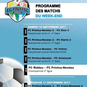 Le programme du week-end :...