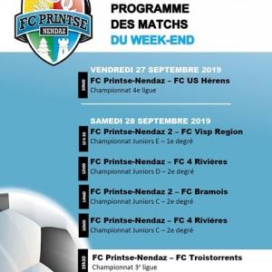 Voici le programme des matchs du week-end au stade...