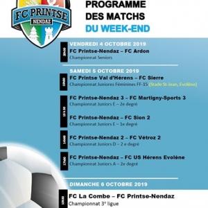 Programme des matchs du week-end ci-dessous avec d...